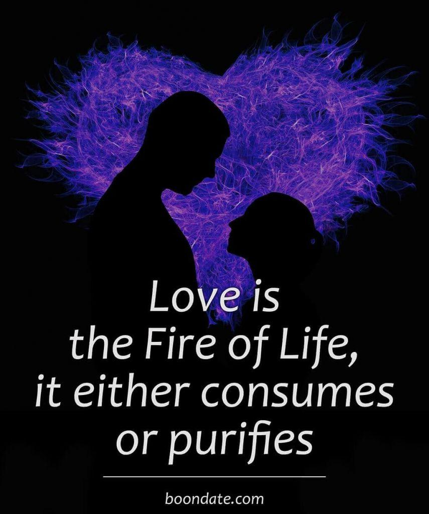 Love is the Fire of Life it either consumes or purifies